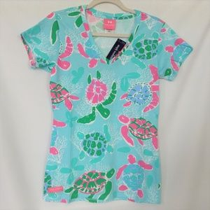 Simply Southern Collection T-Shirt S Teal Turtles